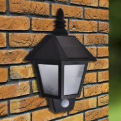 Zwarte VidaXL Solar Muurlamp met bewegingssensor