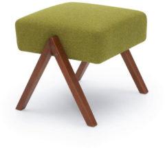 Sternzeit-design Sternzeit Retro Poef - Mustard Groen - met Zachte Stof