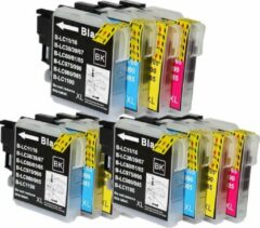 Cyane Brother huismerk Huismerk XL Brother inkt cartridge, lc1100 lc980 Multi pack van 4 stuks (1 x zwart, 1x C,M,Y)