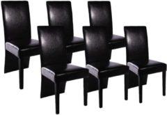 Zwarte VidaXL Eetkamerstoelen met doorlopende rugleuning kunstleer 6 stuks zwart