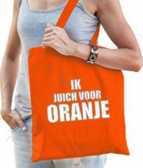 Bellatio Decorations Ik juich voor oranje katoenen tas/shopper oranje voor dames en heren - Nederland supporter - Koningsdag/ EK/ WK voetbal