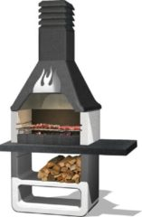 Grijze Sarom Fuoco - Betonnen barbecue - Prometeo - Houtskool en hout - 125 x 64 x 215,5 cm