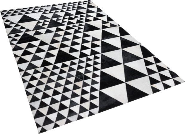 Afbeelding van Zwarte Beliani Odemis Vloerkleed Koeiehuid Leer 140 X 200 Cm