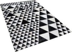 Zwarte Beliani Odemis Tapijt - zwart-wit - Leer - 140 x 200 cm