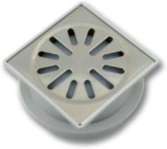 Aquaberg ABS vloerput met RVS rooster met onderuitloop Ø50mm niet verstelbaar 100x100mm met PPC reukafsluiter reukslot 37mm 4210