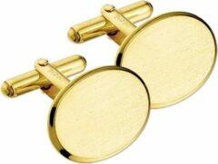Goudkleurige TFT Manchetknopen poli/mat gediamanteerd geelgoud mat/glanzend 13,5 x 18,5 mm