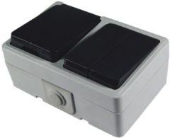 Witte Calex combinatie schakelaar/wand contactdoos RA, spatwaterdicht IP44 met klep, grijs