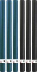 Benza 6 Rollen kaftpapier schoolboeken studieboeken - 3x Zwart & 3x Donkerblauw - 200 x 70 cm