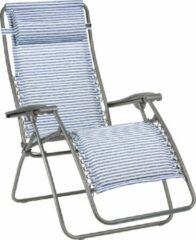 Marineblauwe Lafuma RSX gepolsterd - Relaxstoel - Inklapbaar - Verstelbaar - Marine gestreept