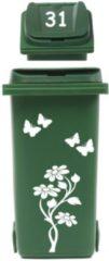 Rosami Decoratiestickers Set Sticker Kliko Container Bloem Met Vlinders Huisnummer 1 Stuks Kleur: Zie Omschrijving