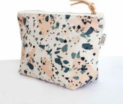 Beige Merkloos / Sans marque Make-Up Tasje / Etui / Toilettas met trendy kleurrijk terrazzo patroon - Blauw Roze II