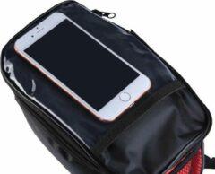 BikerVibes | Fiets Stuurtas met Smartphonehouder | Zwart/rood