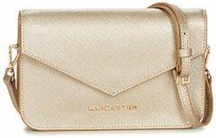 Beige Lancaster Paris Saffiano signature Dames Clutch Goud