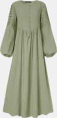 Groene ZANZEA Solid Color Court Dress