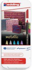 Edding E-1200 4-1200-6 Blauw (metallic), Goud (metallic), Groen (metallic), Rood (metallic), Zilver (metallic), Violet metallic 1 mm, 3 mm 6 stuks