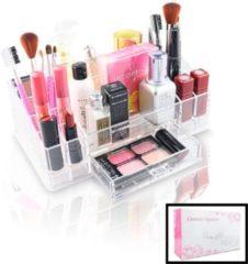 XL Make up Organizer met 16 Vakken & 1 Schuif Lade - Make-up Organizer Transparant - Sieraden Makeup Cosmetica Opbergsysteem - Display Houder voor Lippenstift / Nagellak / Brushes / Visagie - Make up kwasten / Sieraden etc. - Decopatent®