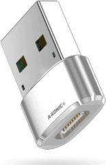 A-Konic© USB-C naar USB convertor | opzetstuk | office | USB 3.1 to USB C HUB | pc | laptop | USB C naar USB A female | telefoon | adapter | Compatible Wth Apple Macbook Pro | Air | Chromebook | IMAC | XPS | Dell | Lenovo | Surface | Samsung | Zilver