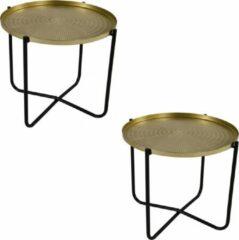 Goudkleurige Lesliliving 2x stuks ronde bijzettafels/plantenstandaarden goud/zwart 35 cm - plantenhouder/plantentafel/oppottafel