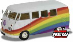 "Paarse Volkswagen T1 Campervan ""Peace , Love and Rainbows"" 1-43 Corgi"