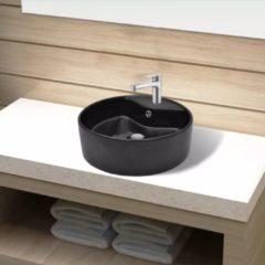 Nero VidaXL Lavandino bagno in Ceramica nera rotondo con Foro di trabocco