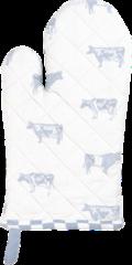 Clayre & Eef | Ovenhandschoen 16*30 cm | Blauw | 100% Katoen | koeien | LWC44BL