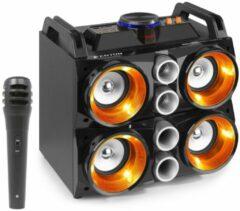 Zwarte Fenton MDJ200 Draadloze Bluetooth Party Speaker 150 Watt, met Ingebouwde Accu, Microfoon, Verlichte Luidsprekers, LCD Scherm, Echo Effect, USB/SD MP3 Speler