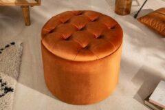Interieurs online Gecapitonneerd met opbergruimte Poef oranje-brons fluwelen 50 cm