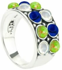 Symbols 9SY 0065 52 Zilveren Ring - Maat 52 - Turkoois - Lapis Lazuli - Parel - Blauw - Groen - Wit - Geoxideerd