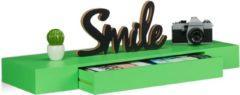 Relaxdays wandplank met lade - blinde montage - modern design - wandboard - wandelement groen