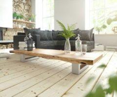 DeLife Wohnzimmertisch Live-Edge Akazie Natur 165x60 Kufengestell Couchtisch