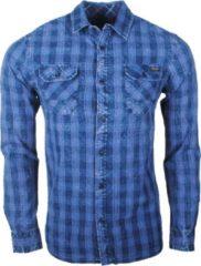 Earthbound heren overhemd met 2 borstzakjes geblokt blauw