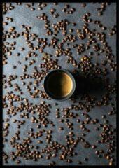 Grijze Wallll Poster Koffiebonen - 30x40cm - Poster Koffie en Keuken