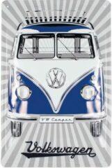 Volkswagen VW T1 Bus metalen bord 20x30cm - Samba Blauw