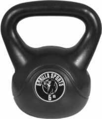 Gorilla Sports Kettlebell 6 kg zwart kunststof (extra stabiel)