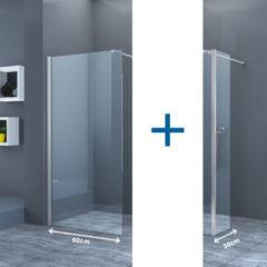 Douche Concurrent Inloopdouche Eco Nano met Zijwand 60x200cm 30x200cm Antikalk Helder Glas Chroom Profiel 8mm Veiligheidsglas Easy Clean