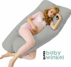 Quper Zwangerschapskussen | Comfortkussen | XL 240 cm | Afneembare hoes | Incl. luxe opbergtas | Grijs