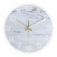 SensaHome Glazen Wandklok 30cm Diameter - Minimalistische Marmeren Design met Stille uurwerk - Marble White