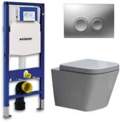 Douche Concurrent Geberit UP 100 Toiletset - Inbouw WC Hangtoilet Wandcloset - Alexandria Delta 21 Mat Chroom