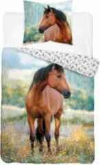 Detexpol Horse Club Paarden dekbedovertrek , Bruin Paard 140x200cm , incl Kussensloop 70x80cm, 100% Katoen
