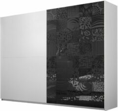 Antraciet-grijze Pesaro Mobilia Schuifdeurkast Perez 275 cm breed in mat wit met hoogglans antraciet