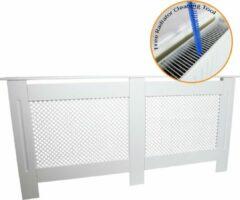 MonsterShop Radiatorombouw - MDF - Wit - 172cm(L)x19cm(B)x82xcm(H) - Kant en klaar - Reinigingsborstel + bevestigingsbeugels inbegrepen