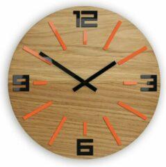 Mandee.nl Sheen Houten Oranje Wandklok Ø 33 CM