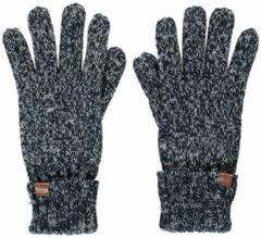 Sarlini Zwart/navy gemeleerde gebreide handschoenen voor kinderen - One size - Warme fleece voering handschoenen voor jongens/meisjes