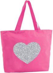 Shoppartners Zilveren hart glitter shopper tas - fuchsia roze - 47 x 34 x 12,5 cm - boodschappentas / strandtas