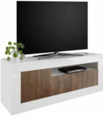 Pesaro Mobilia Tv-meubel Urbino 138 cm breed in hoogglans wit met walnoot