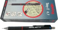 Rotring Tikky ll HB pencils, pack of 10. Burgundy color, 0.7mm (old version).