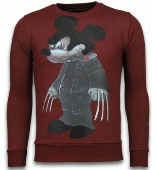 Afbeelding van Rode Local Fanatic Bad Mouse - Rhinestone Sweater - Bordeaux - Maten: XL