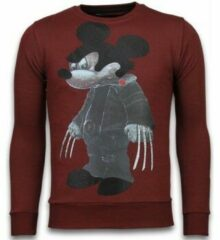 Rode Local Fanatic Bad Mouse - Rhinestone Sweater - Bordeaux - Maten: XL