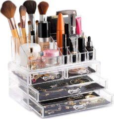 AWEMOZ® Beauty Make-Up Organizer - Opbergbox - Opbergdoos Cosmetica - Sieradendoos - 20 Opbergvakken - Moederdag Cadeautje - Nagellak - Lippenstift - Transparant