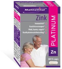 Mannavita Mannavital Platinum Zink Vegetarische Capsules Haar/nagels 60capsules